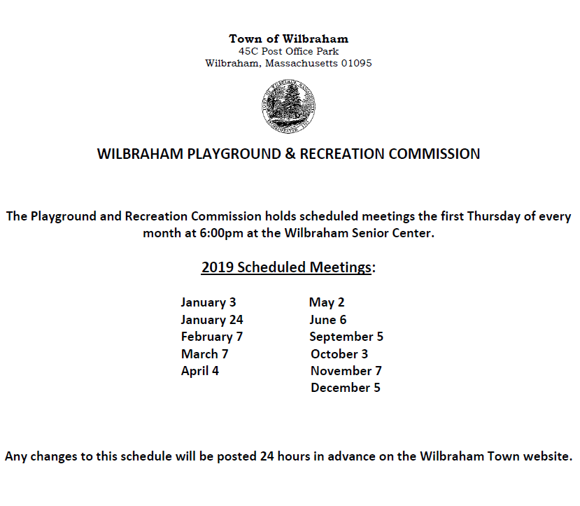 Playground Commission Meeting Schedule